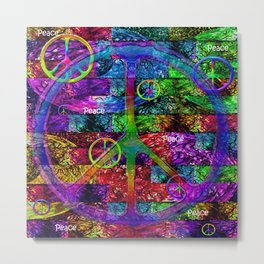 Peace Symbol Rainbow Flag Metal Print