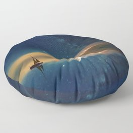 Sailboat in Space (Color) Floor Pillow