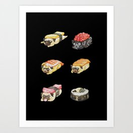 Sushi Pug Watercolor Art Print