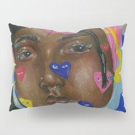 Girl with hearts on her face Pillow Sham