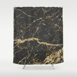 Marble Black Gold - Whistle Shower Curtain