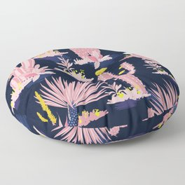 Kitschy Pink Cactus Cacti on Black Floor Pillow