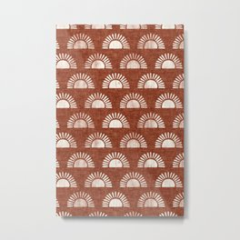 block print suns on rust Metal Print