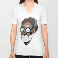 freud V-neck T-shirts featuring Freud by PAFF