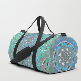 Mint Green, Blue & Aqua Super Boho Medallions Duffle Bag