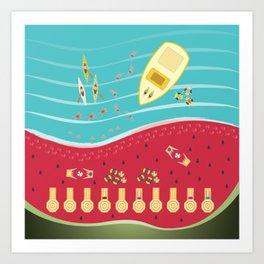 Summer Fun at the Watermelon Beach Art Print