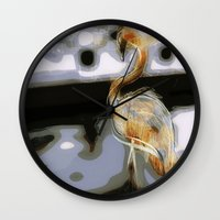 flamingo Wall Clocks featuring flamingo by Cool-Sketch-Len