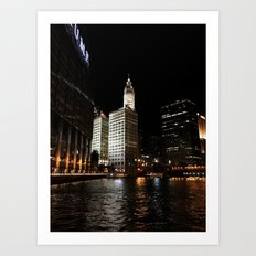 Wrigley Building and Chicago River at Night Color Photo Art Print