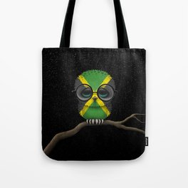Baby Owl with Glasses and Jamaican Flag Tote Bag