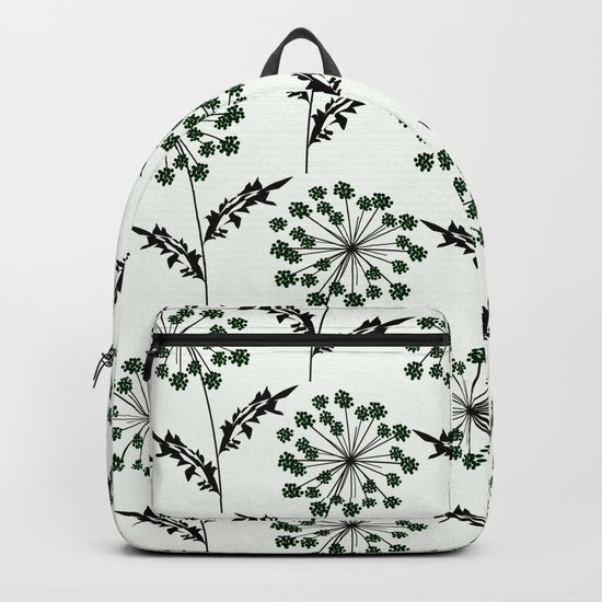 Delicate flowers on a black background. Backpack