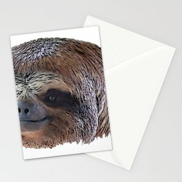 Bradypus Sloth Face Mammal Profile Smile Benevolent Thought Stationery Cards