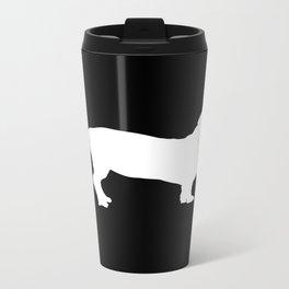 Dachshund on Black Metal Travel Mug