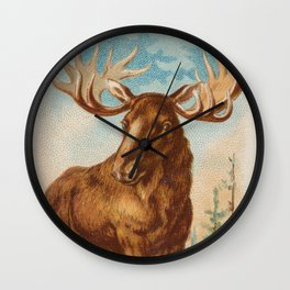 Vintage Illustration of a Moose (1890) Wall Clock