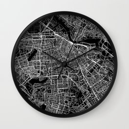 Amsterdam Black Map Wall Clock