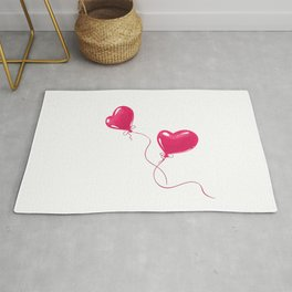 Heart shaped red balloons Rug