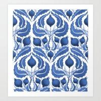 Blue pomegranate pattern Art Print