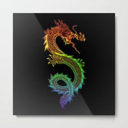 Traditional Chinese dragon in rainbow colors Metal Print