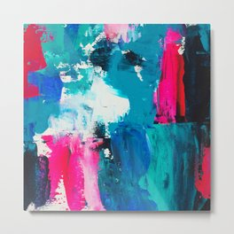 Look on the bright side | neon pink blue brushstrokes abstract acrylic painting Metal Print