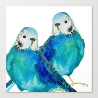 craftberrybush Canvas Prints featuring Budgie couple  by craftberrybush