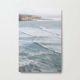 The Lone Surfer in Ericeira, Portugal | Ocean Sea Waves | Travel Photography | Metal Print