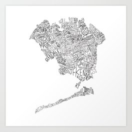 Queens - Hand Lettered Map Art Print