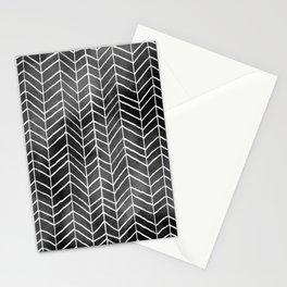 Watercolor Herringbone Pattern (white/black) Stationery Cards
