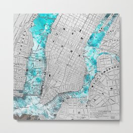 NEW YORK CITY OCEAN MAP Metal Print