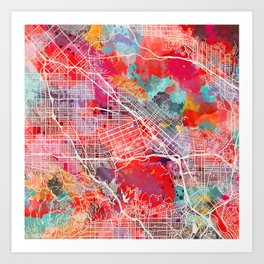 Burbank map California painting 2 Art Print