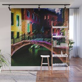 Moonlit night on a Venice Canal Landscape Painting by Jéanpaul Ferro Wall Mural