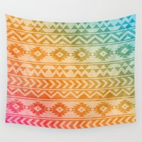 pocahontas Wall Tapestries featuring Aztec Pattern 02 by Aloke Design