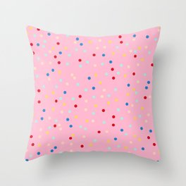 Pink Doughnut Inspired Polka Dot Pattern for Home Decor | Rainbow Spinkles Throw Pillow