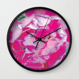 Pink Rose Pop Art Wall Clock
