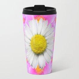 Chocolate Brown Color Shasta Daisies & Rose Pattern Garden Art Travel Mug