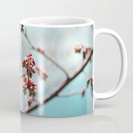 Pink Spring Buds on Blue Coffee Mug