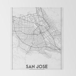 Minimal City Maps - Map Of San Jose, California, United States Throw Blanket