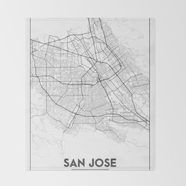 Minimal City Maps - Map Of San Jose, California, United States Throw Blanket