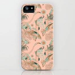 Flamingos in linocut look iPhone Case
