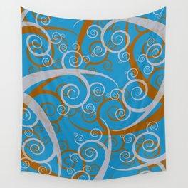 Blue Swirl Pattern Wall Tapestry