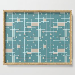 Intersecting Lines in Teal, Tan and Sea Foam Serving Tray