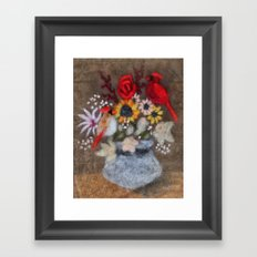 Cardinal Bouquet Framed Art Print