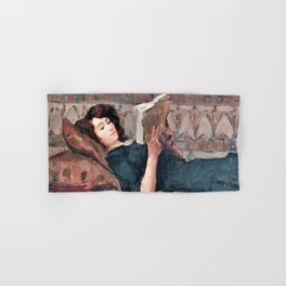12,000pixel-500dpi - Isaac Lazarus Israels - Reading Woman On A Couch - Digital Remastered Edition Hand & Bath Towel