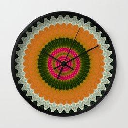 Ball Orange Green Mandalas Descendant Wall Clock