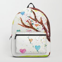 Heart Tree Watercolor Illustration Backpack