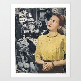 Woman, yellow shirt Art Print
