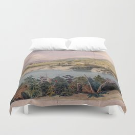 Panorama of West Point from Constitution Island by John Rubens Smith (c 1820) Duvet Cover