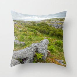 Cloudy Poulnabrone Landscape Throw Pillow