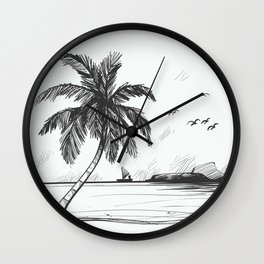 Beach graphic sketch art Wall Clock