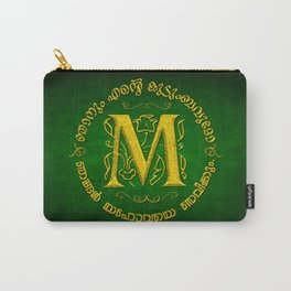 Joshua 24:15 - (Gold on Green) Monogram M Carry-All Pouch