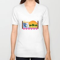 hawaiian V-neck T-shirts featuring Hawaiian Surfing by MacDonald Creative Studios