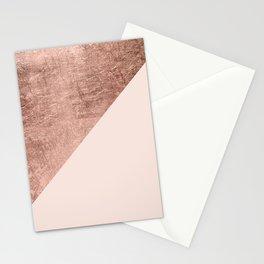 Minimalist blush pink rose gold color block geometric Stationery Cards